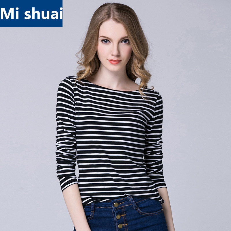 Ladies casual shirt women 39 s spring red white striped long for White long sleeve tee shirt womens
