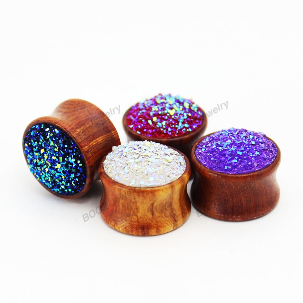 fashion mineral wood ear piercing plug  tunnel gauges body jewelry 2pcs per size 4 colors for choose