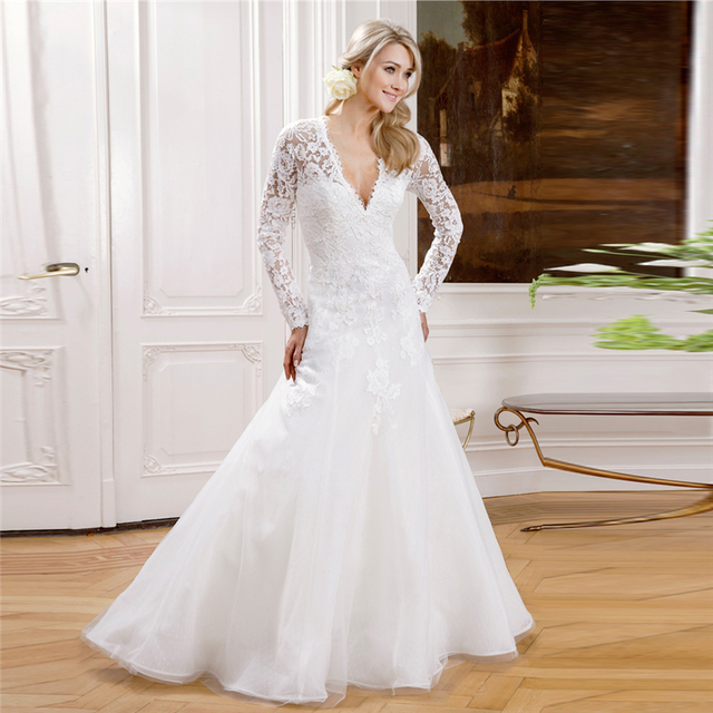 Long Sleeved Lace Wedding Dresses Muslim V neck Simple White See ...