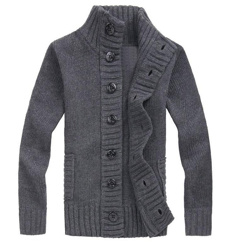 Men Knitted Sweaters Stylish Warm Button Pullover Black White Gray Pullover Knit