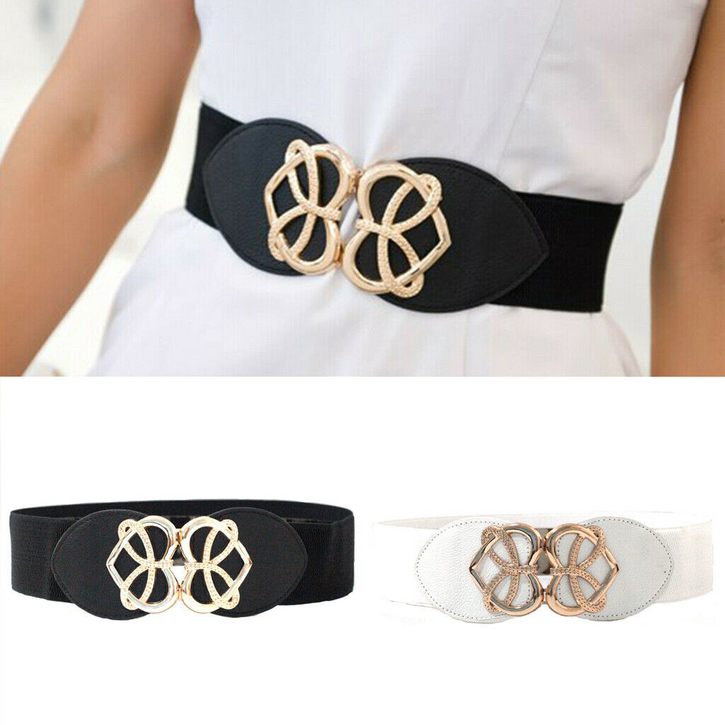 Women Wide Thin Fashion Stretch Buckle Metal Elastic Belt Waist Wide Girl Ladies