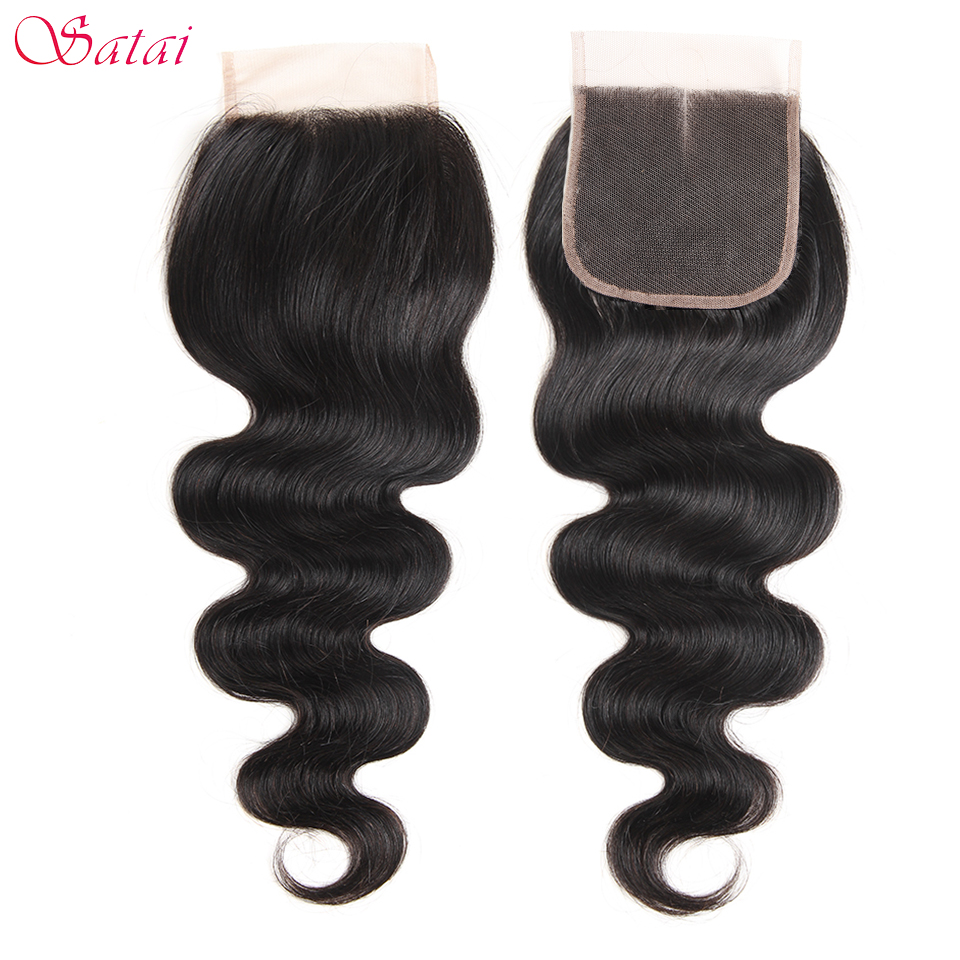 "Satai Hair 4 * 4 ""Lace Closure Body Wave 100% Menneskehår 10-18 tommer Natural Color Remy Hair 1 stk. Gratis Levering"
