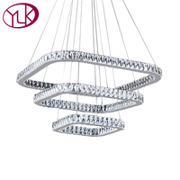 Top Luxury Modern Crystal LED Chandelier Stair Long Hanging Lighting Fixture Lustre Home Decor Light Square