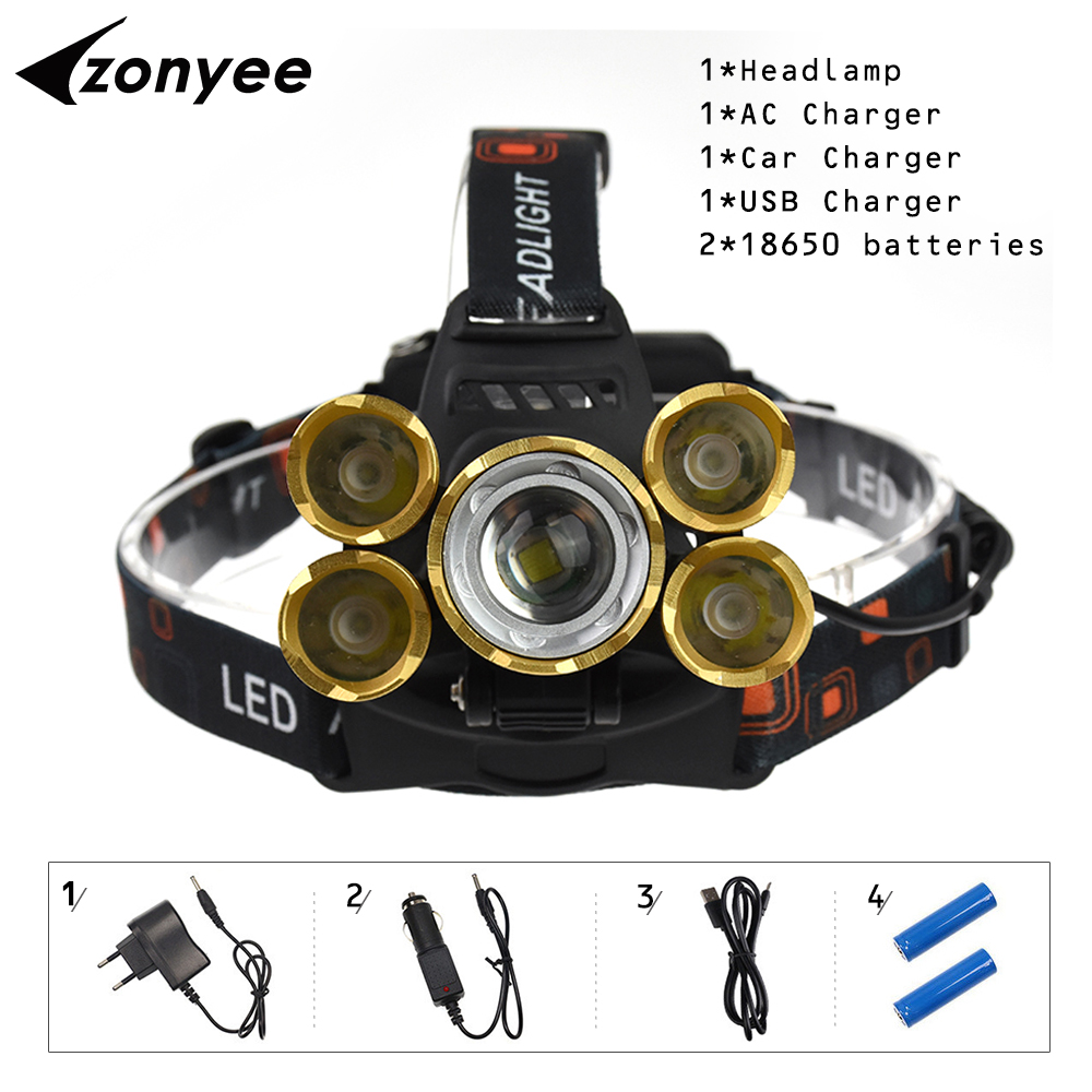 Zonyee Headlamp 5 Led 15000 Lumen Rechargeable Headlight Flashlight XML T6 5 LED Zoom 4 mode 18650 Lampe Frontale Fishing Light ultrafire u 100 4 led 4 mode 2400lm white bike light headlamp black deep pink