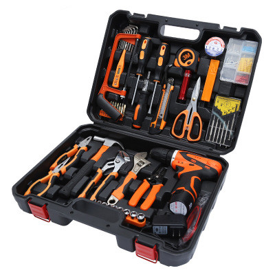 61PCS Combination Household Tool Set with Lithium Drill Watch Batch Tool Kit Case Package With Screwdriver Wrench Hammer Pliers 55pcs hand tool set kit household tool kit saw screwdriver hammer tape measure wrench plier