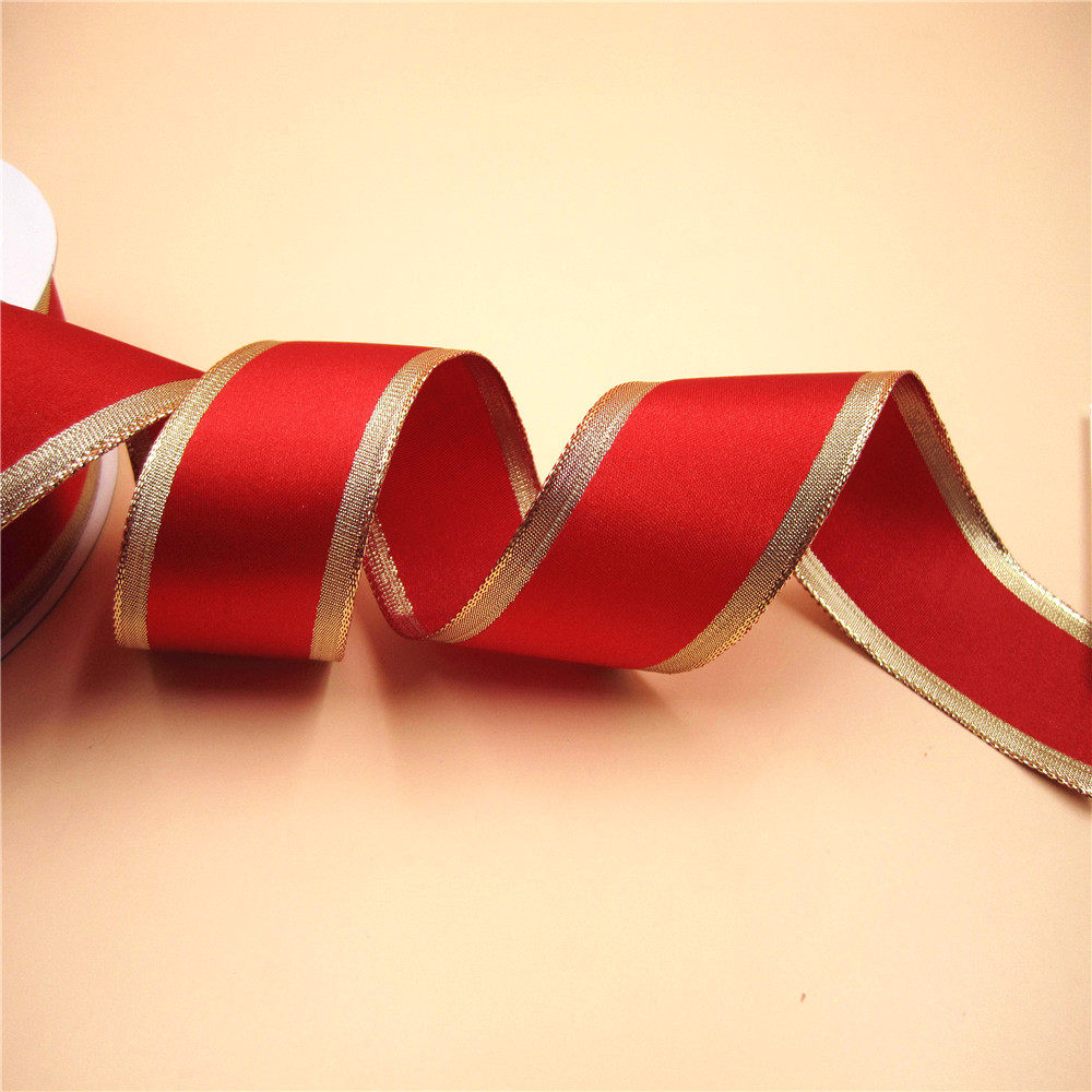 Double Sided Satin Ivory,White,Red,Green Ribbon With Lurex Gold Edge