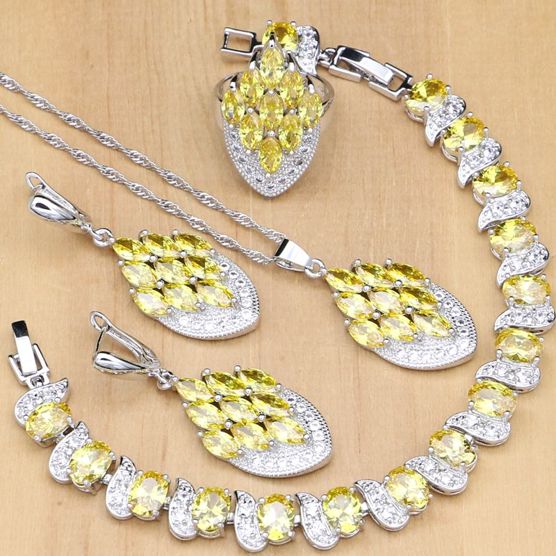 Mystical 925 Silver Jewelry Sets Yellow CZ White Stone For Women Party Earrings/Pendant/Rings/Bracelet/Necklace Set