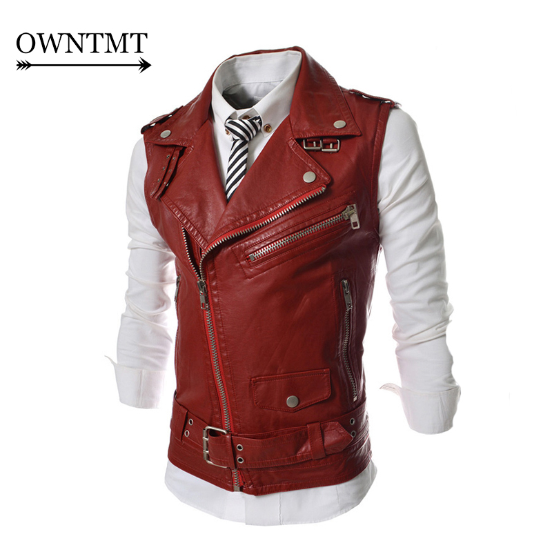 2017 HOT Fashion Spring Autumn Men's Leisure Leather Vests Male Fashion Slim Fit Turn-Down Collar Waistcoat M-2XL Free shipping