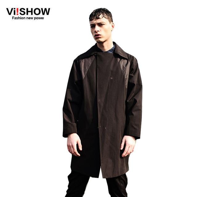 Viishow hombres gabardina primavera prendas de vestir exteriores ocasional de ropa de marca abrigo masculino chaquetas rompevientos escudo de foso del Mens