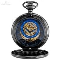 KS Black Roman Twelve Constellations Design Key Pendant Montre Vintage Long Chain Clock Mechanical Pocket Watch