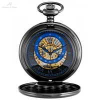 KS Black Roman Twelve Constellations Design Key Pendant Montre Vintage Long Chain Clock Mechanical Pocket Watch Jewelry /KSP120
