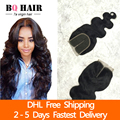 Bq 8a cabelo tissage brasileira fechamento onda do corpo brasileiro lace closure humano virgem fechamento tecer cabelo dhl freeshipping rápido