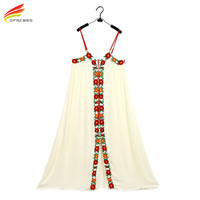 2017 New Long Bohemian Dress For Women Vintage White Embroidered Floral Boho Clothing People Top Tunic Loose Maxi Beach Dress