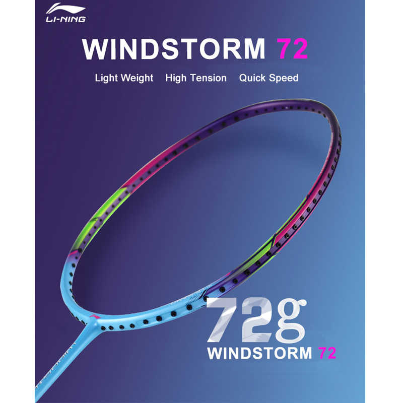 Li-Ning WINDSTORM 72 Badminton Rackets Single Racket Professional Carbon Fiber LiNing Rackets AYPM084