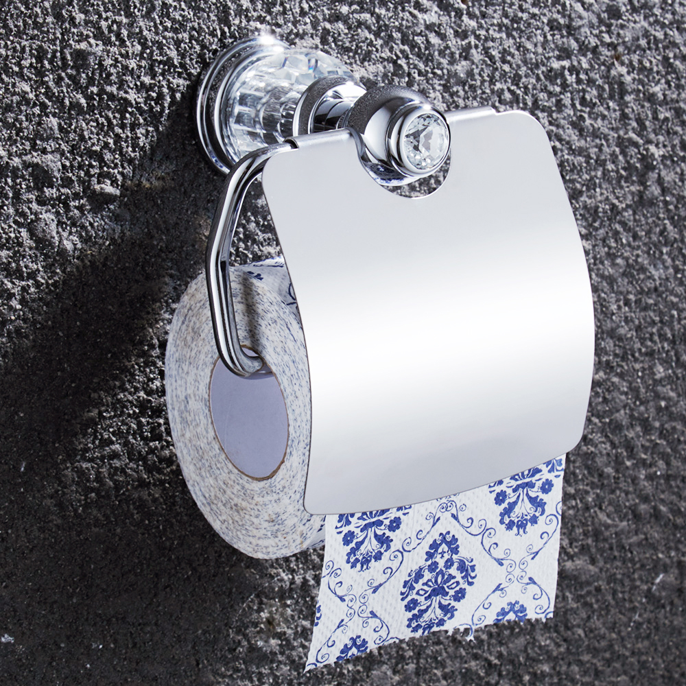 Europe Gold Polished Toilet Paper Holders Crystal Solid Brass Tissue Paper Holder Wall Mount Toilet Paper Rack luxury wall mount toilet paper holder bath storage shelf gold brass bath holders