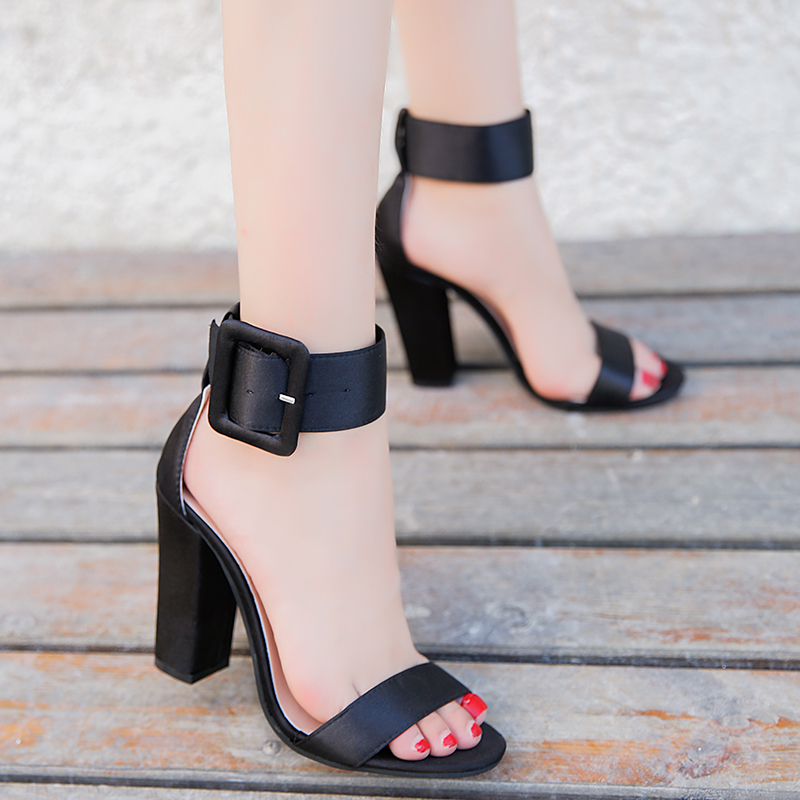 Woman Sandals Ankle Strap Buckle Pumps Women High Square Heels Shoes Peep Toe Summer Feminino Gladiator Sandals OR914975 isabel charlotte elvis studded women sandals reviets high heels nubuck leather ankle strap boots gladiator vintage shoes woman