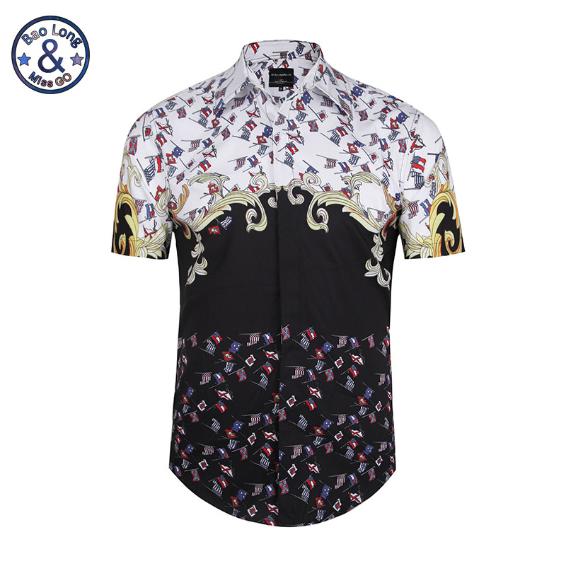 2017 2017 Summer Men Short Sleeve Floral Dress Shirts Unique Medusa Shirt Fashion 3D Print Luxury Harajuku Men Shirt USA Size M-