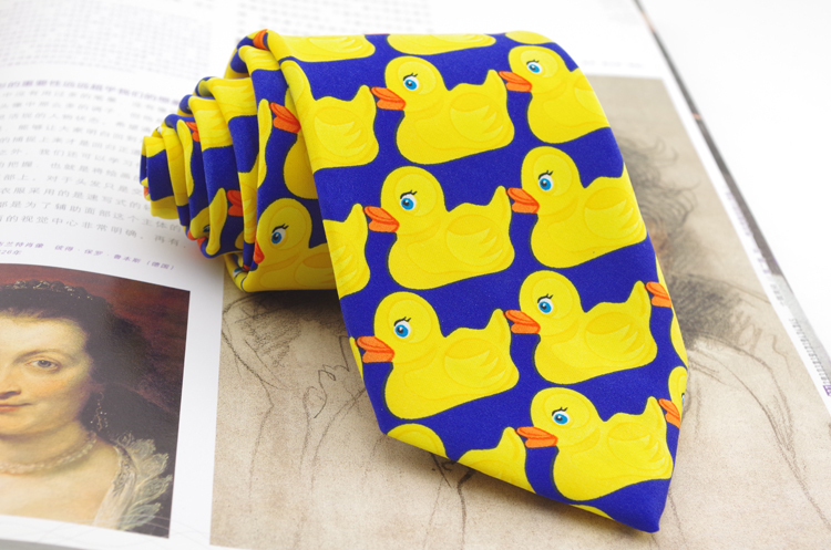 8 Cm Gele Rubber Duck Fashion Band Voor Mannen Hot Tv Show Cartoon Corbatas Nieuwigheid Fancy Eend Patroon Gedrukt Merk