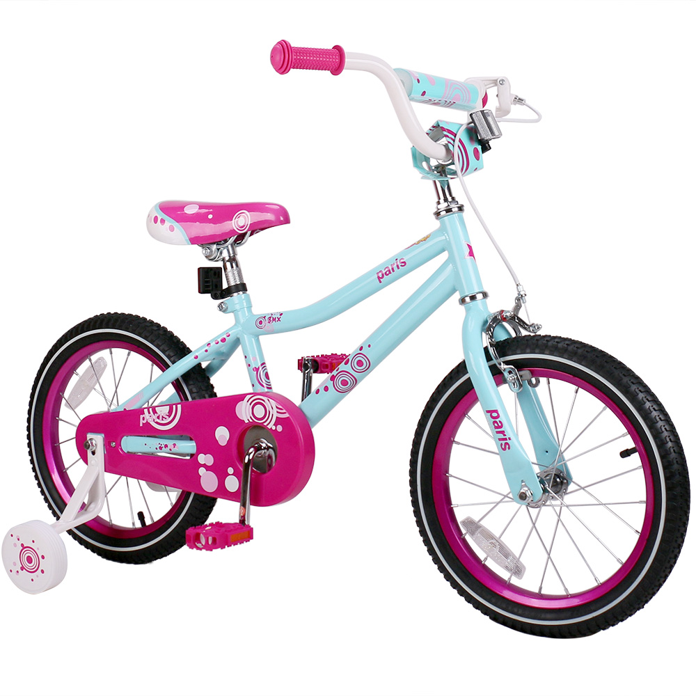 16 Inch Paris Girl Kids Bike Pink and Blue Kids Bicycle with V break and Training Wheels for Girl