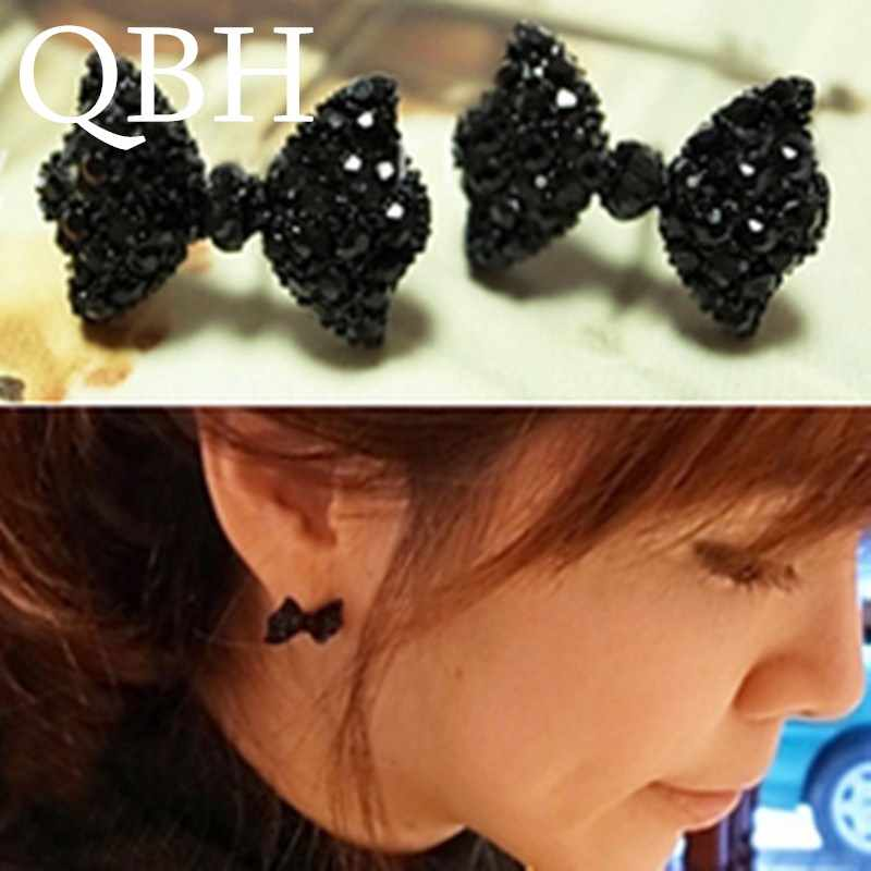 EK558 Wholesale 2018 Girl New Fashion Vintage Black Cute Crystal Bow Stud Earrings For Women Jewelry Boucle d'oreille Brincos