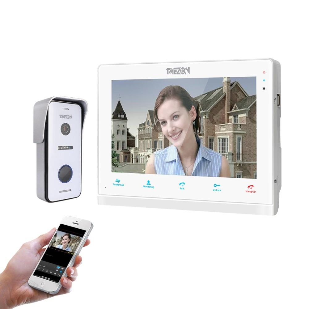 TMEZON 10 Pouces Sans Fil/Wifi Smart IP sonnette vidéo interphone, 1 xTouch Écran Moniteur avec 1x720 P Filaire Porte Téléphone Appareil Photo