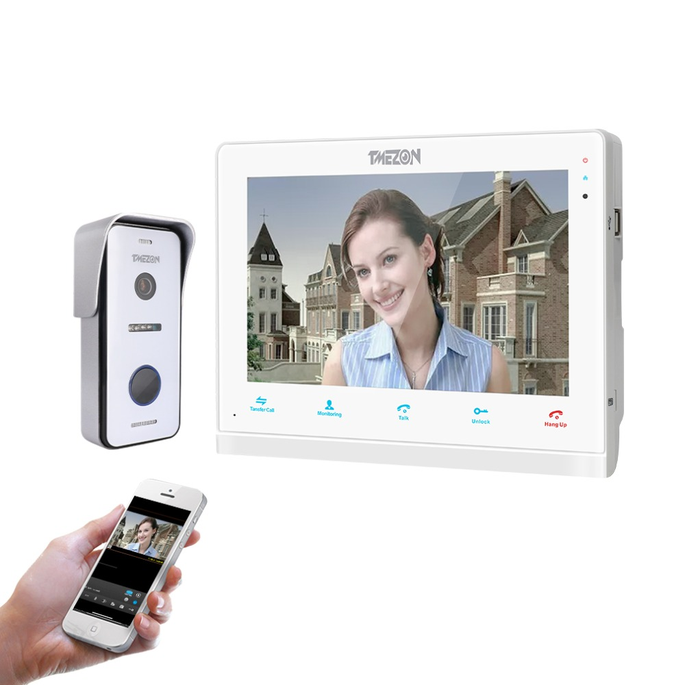 TMEZON 10 pouce Sans Fil/Wifi Smart IP Vidéo Sonnette Interphone Système, 1 xTouch Écran Moniteur avec 1x720 p Filaire Porte Téléphone Appareil Photo