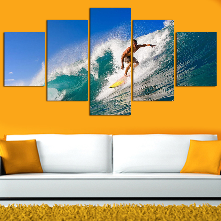 5 Panels Painting Canvas Wall Art cuadros Cool Surfing Wall Picture ...