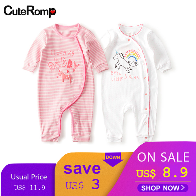 cdbe750a98 Newborn cotton baby girl romper lace Dream horse baby Onesie unicorn  Footless One-piece costume Pajamas Infant Print Jumpsuit