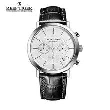 Arrecife Tigre/RT Mens Relojes con Fecha Cronógrafo de Cuarzo Relojes de Negocios Ultra Delgado de Acero Inoxidable Relojes RGA162