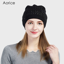 Aorice 2017 New Winter Knitted Hats For Women Black Solid Color Sequins Quality Brand Fashion leisure Girl Beanie Cap HK701