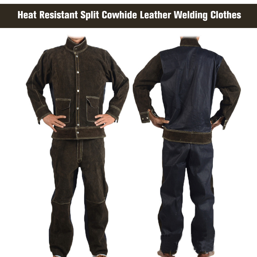 Cowhide Jean Welding Suits Heat Resistant Heavy Duty Welding Suit Wear resistant Anti scald Flame Resistant