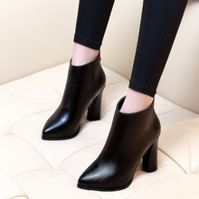 2017 Autumn Spring Pointed Toe Genuine Leather Thick Heels Boots For Women Brand Designer Fashion Short Boots Shoes CH-A0009 недорго, оригинальная цена
