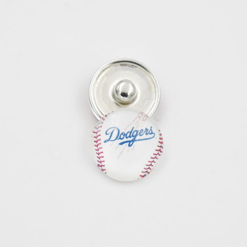 Лос-Анджелес Плут Бейсбол команды Стекло кнопки Шарм для 18 мм оснастки кнопку ювелирные изделия (смешанный или одного надувательства)