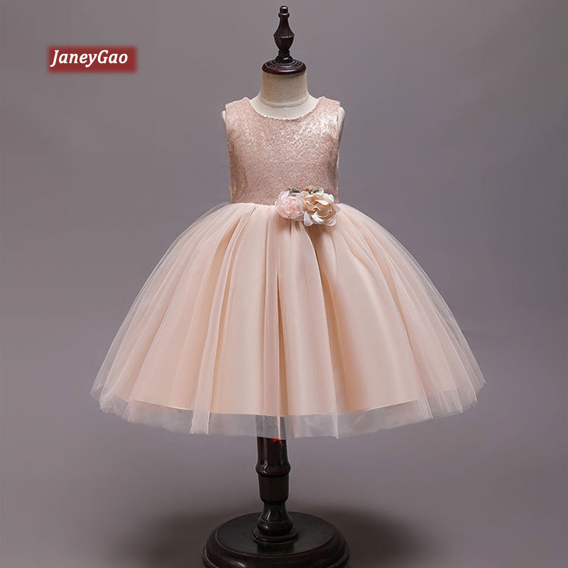JaneyGao Flower Girl Dresses For Wedding Party Elegant Little Girl Formal Gown With Sequins Princess Champagne Dresses 2019 New