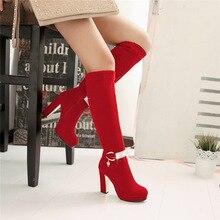 Mujeres invierno gruesa hebilla del alto talón plataforma de cuero nobuck Crystal Side Zip hasta la rodilla inferiores rojos más el tamaño 34-43 SXQ0818