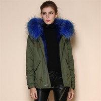 Real fox blue collar fur jacket for sale supplier from China Cheap Price wholesale factory