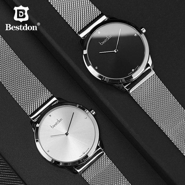 Bestdon montre Couple Sapphire Ultra fine, montre bracelet à Quartz minimaliste, étanche, horloge de luxe Valentine Gifr, pour les amoureux, tendance