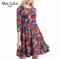 Max LuLu Korea Stil 2017 Herbst Winter Lässige Mode Weihnachten Frauen Hohe Taille Blumendruck Lässige Big Size Kleid frau