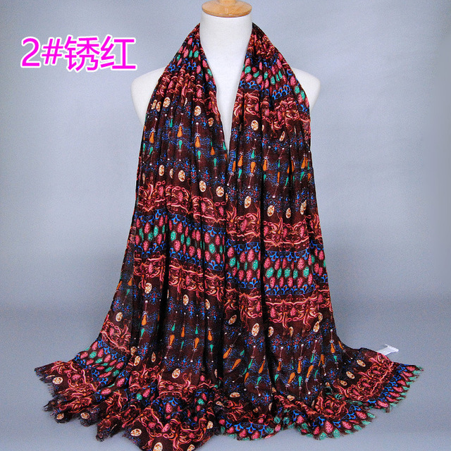 India Style Ethnic Style Drop Plaid Scarves and Shawls for Women Fashion Design Artistic Style Bandana and Pashmina for Ladies