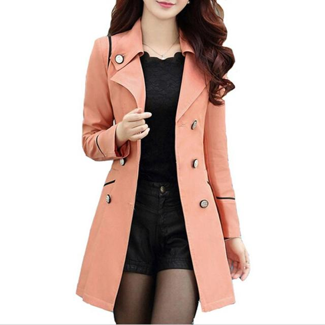 Autumn Casacos Femininos 2016 Hot Sale New Fashion Style 6 Colors Trench Coat For Women Long Slim Double Breasted Coats