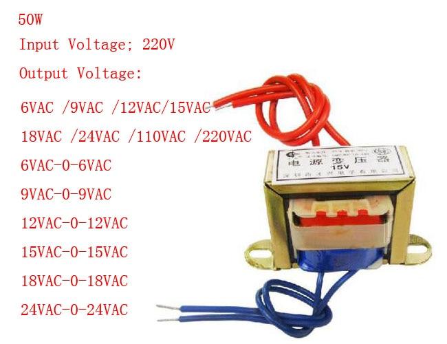 50W EI Ferrite Core Input 220V 50Hz Vertical Mount Electric Power Transformer Output Voltage Single/Doubel 6V 9V 12V 15V 18V 24V