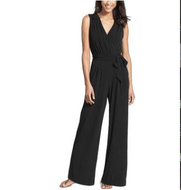 wide-leg jumpsuit pants sleeveless V-neck jumpsuit trousers NEW