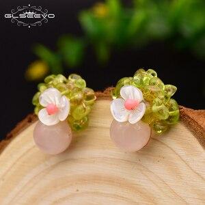 GLSEEVO ręcznie robione naturalne różowy kryształ dla kobiet dziewczyna Party prezent luksusowe stadniny kolczyki ręcznie grzywny biżuteria Oorbellen GE0607