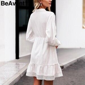 Image 4 - BeAvant 화이트 코튼 드레스 여성 우아한 랜턴 슬리브 겨울 드레스 인어 라인 여성 가을 드레스 vestidos