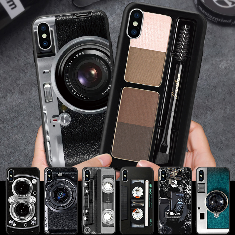 For iPhone 5 5S SE 6 6S 7 8 Plus X XR XS Max Black Hard Phone Case Realistic Camera Lens Make up Box Audio Tape Hard Cover image