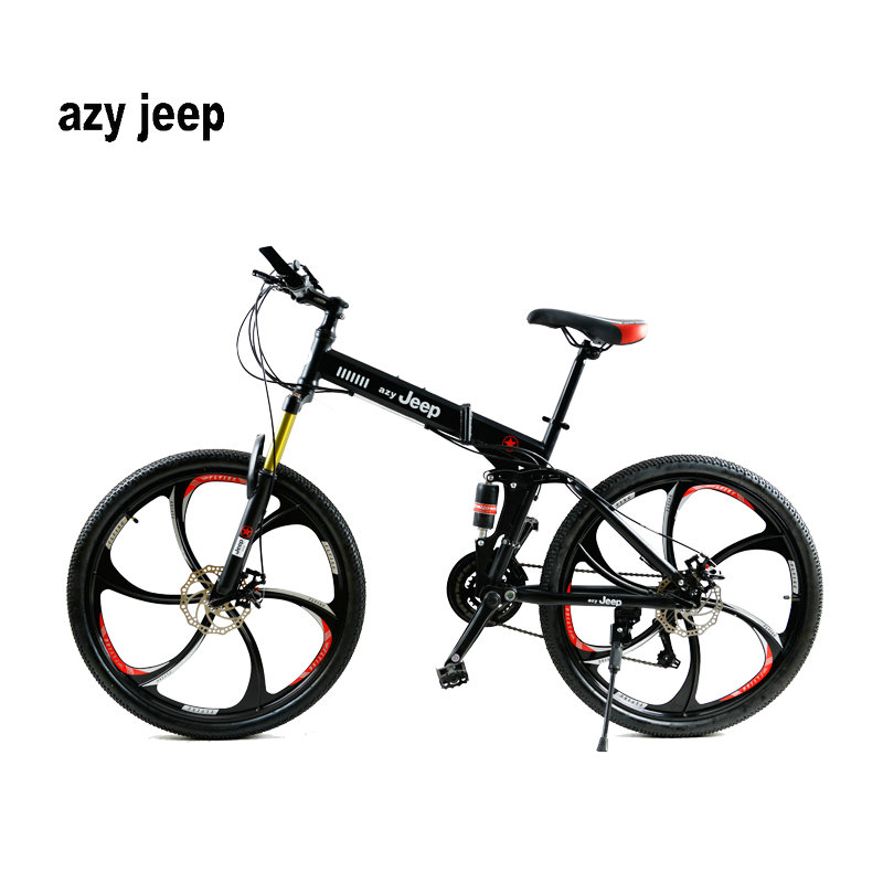 26 inches 21 Speed Folding Bicycle Male / Female / Student Mountain Bike Double Disc Brake Full Shockingproof Frame Brakes ...