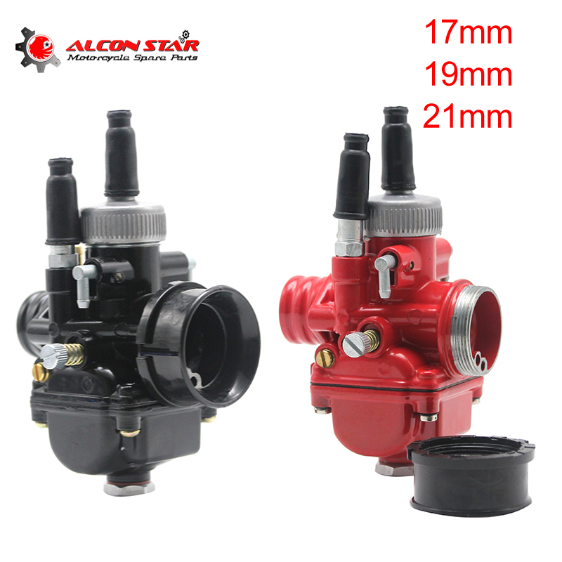 Alconstar- Black/Red 2 Stroke Motorcycle PHBG Racing 17mm 19mm 21mm Carburetor Carb Fit 50cc-100cc Scooter Moped GY6 BWS125 XMAX
