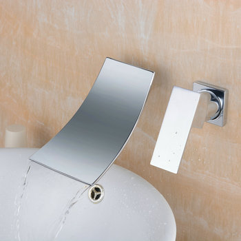 Beelee BL6015C Bathtub Wall Mounted Bathroom Sink Faucet Solid Brass Single Handle 1/2-Inch IPS Chrome Basin Tap