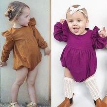 Круглый воротник сплошной одежда с длинным рукавом дешевые детские Комбинезоны для малышек для новорожденных Одежда для маленьких девочек Комбинезоны Демисезонный Прямая для маленьких девочек