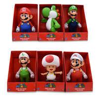 23CM 7 estilo Super Mario Bros figura Yoshi sapo Rosa princesa sombrero blanco Mario modelo colección figura de acción juguete